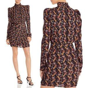 AQUA Puff Sleeve Metallic Paisley Dress Medium.
